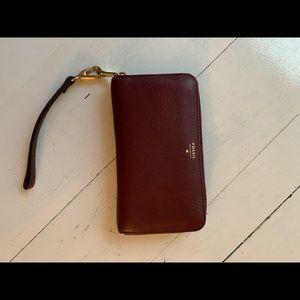 Fossil maroon wine wallet strap wristlet leather